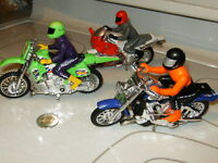 3 Hot Wheels Friction Motorcycles with Riders (Mattel 2000)