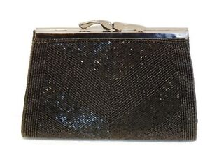 Beaded Evening Clutch Purse Bag Handbag - Black (02040119)