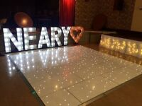starlit LED dance floor, photobooth, LOVE letter, photo booth, chair covers, starlit backdrop