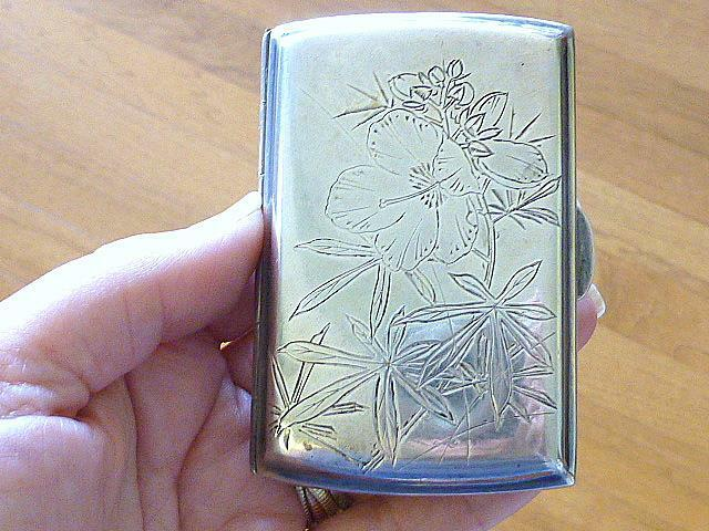 Signed Japanese Chinese Lily Flower 950 Sterling Silver Card Cigarette Case Box