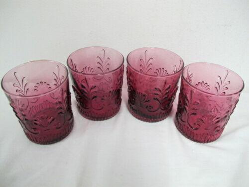CRANBERRY PILGRIM GLASS  (4)  OLD FASHION ROCK BEVERAGE GLASSES  TUMBLER ADAMS