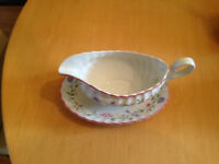 Johnson Summer Chintz Gravy Boat and Dish - great condition