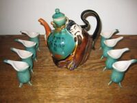 Unusual Vintage Glazed Majolica Asian Teapot/Sake/Wine.