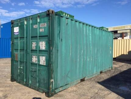 painted green 20'' shipping containers in tamworth