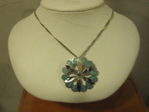 large  turquiose flower necklace