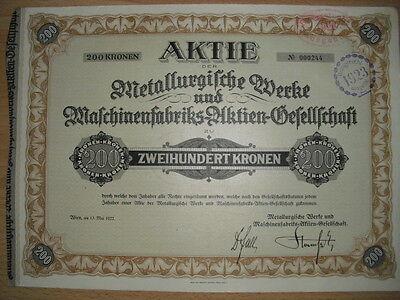 Metallurgische Werke und Maschinenfabriks AG 1922  Wien