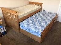 CAPTAIN BED, WITH UNDERNEATH PULL OUT BED, 3 STORAGE DRAWERS