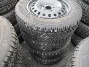 215/60 R16 GOODYEAR ULTRA WINTER TIRES ON STEEL RIMS USED SNOW TIRES (SET OF 4) - APPROX. 85% TREAD