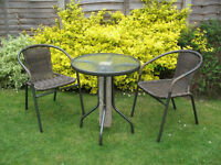 Patio/Balcony Glass Top Table and Rattan Weave Chair Set