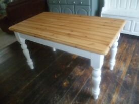 Shabby Chic Solid Pine Farmhouse Dining / Kitchen Table - Up-cycled in 'Chalk White' chalk paint
