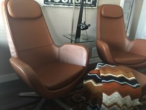 Ikea Arivka leather chair and stool