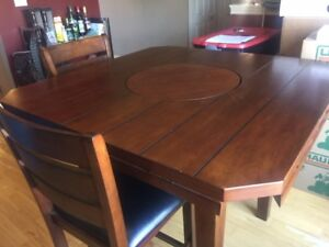 Dark Cherry Dining set with 6 chairs, lazy susan, drop leaf