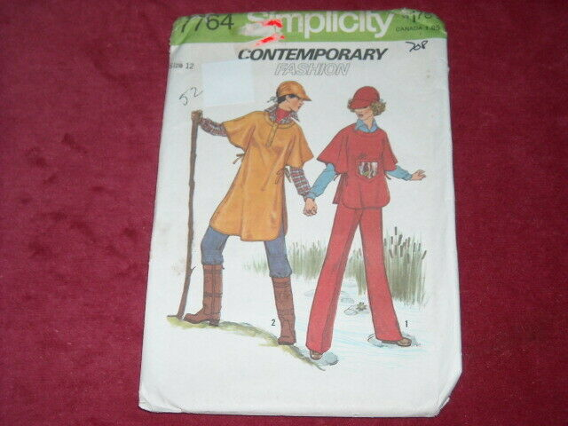 🌻 1976 SIMPLICITY #7764-LADIES PULLOVER HIKING PONCHO-PAN