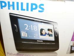 Philips AJ308 Clock FM Radio Soothing Sounds Photos 7 Color Display Dual Alarm