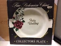 Fine Bohemian China Ruby Wedding Collectors Plate