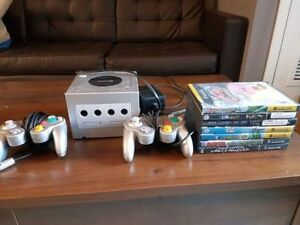 Gamecube with controllers and games