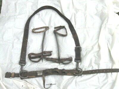 Vintage Leather Lineman Tree Pole Climbing Belt Wlp Brooklyn Harness Gaffs 28-36