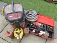 "HILTI DD-130 CORE DRILL SET inc 5"" and 4"" CORE DRILL - ALSO COMES WITH HILTI DUST EXTRACTION HOOVER"