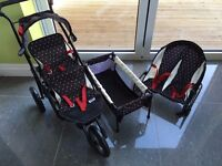 Mamas & Papas kids twin dolls set. Double decker buggy, bouncer and cot