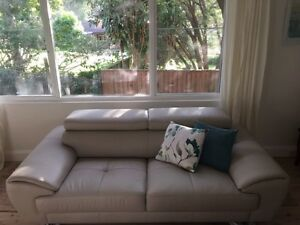 """11 Weeks Old! Nick Scali """"Francis"""" 3 seater leather lounge Newport Pittwater Area Preview"""