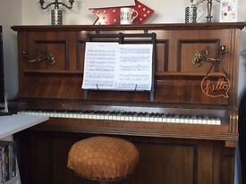 Stunning Antique Ernst Kaps Piano with Candelabra c. 1890 and Victorian Piano Stool