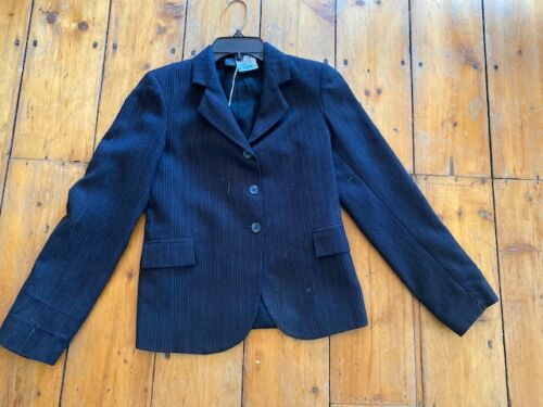 Devon Aire COMPETITION Hunt COAT *Youth 16 *Navy* Pinstripe *VGC Polyester Blend
