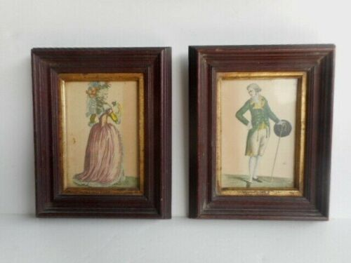 Pair of Antique 19th Century French Fashion Prints in Period Walnut Frames