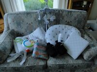 Bundle of Baby items - bath/bowl/pillow/cot mobile/bumper/light show/groegg/bumbo/sheets and more