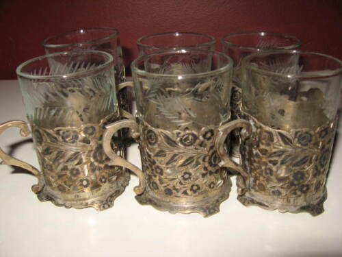 Antique old vintage persian silver tea set of 6 floral design cup w/ glass