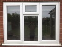 white upvc window double glazes with 3 openings