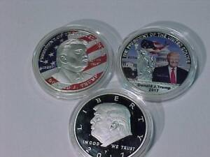 3 DIFFERENT STYLES of DONALD J. TRUMP **MAKE AMERICA GREAT AGAIN BEAUTIFUL COINS in PROTECTIVE CAPSULE  **FREE SHIPPING