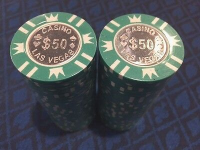 NEW $50 x 50 METAL COIN CENTER INLAY LAS VEGAS POKER CHIPS