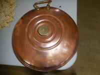 Vintage copper bed warming pan brass rivited handle