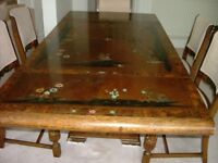 Antique Chinoiserie table and 4 chairs