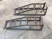 Car inspection ramps, steel. Standard ramps, drive front or back wheels on for inspection underneath