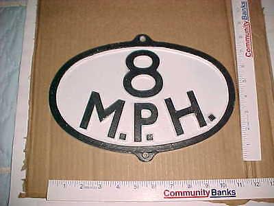 (2) Ptd Oval Aluminium Replica Antique Vintage Railroad 8 MPH Sign