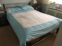 Metal Frame Double Bed (4'6ft) with Mattress For Sale