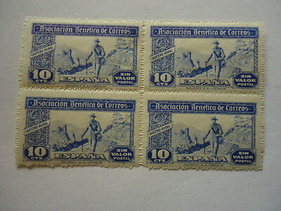 Spain Cinderella Issue 1946 Asociacion benefica de corres Block of 4 10Cts