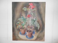 Still Life of 3 pots of red geraniums on blue dishes. It is an oil canvas by Frederick Hinchliff