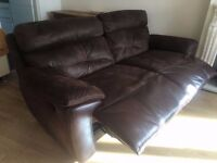 Leather suede recliner sofa