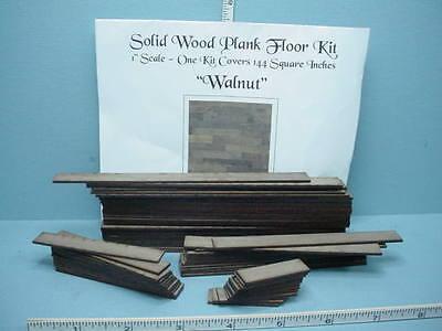 Dollhouse Miniature Plank Flooring Kit (144 Sq Inches) Walnut Wood 1/12th Scale