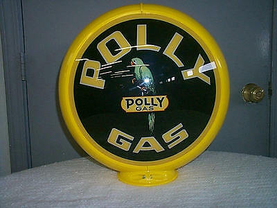 gas pump globe POLLY GAS reproduction 2 glass lenses in a plastic body