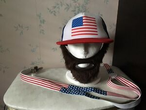 4th of July: USA Bearded hat, suspenders, Hawaii shirt NEW
