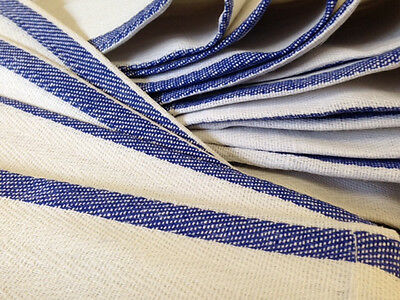 1 Dozen 100 Cotton Blue Stripe Herringbone Kitchen Dish Towels Lintless 24oz