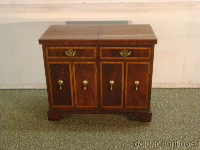55429 Hickory White Mahogany Flip Top Serving Cabinet