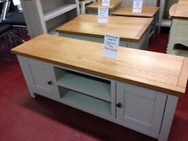 New grey & oak large 4ft 120 cm TV unit fully built, In Stock Now