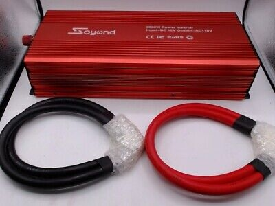 Soyond 3000W 12V DC to 110v60hz AC LCD Green Cables Power Inverter