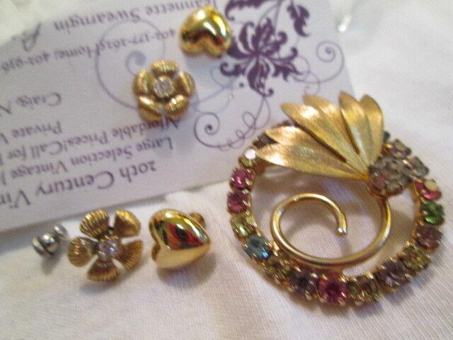Vintage Art Deco Rev Gold-tone Rhinestone Crystal Brooch Prc Earring Jewelry Lot