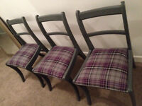 3 Grey Purple Tartan Dining / Bedroom Occasional Chairs (£30 Each, or all 3 for £80)