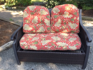 OUTDOOR LOVESEAT with pier one cushions